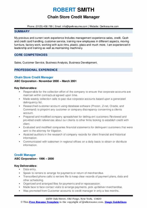 Chain Store Credit Manager Resume Template