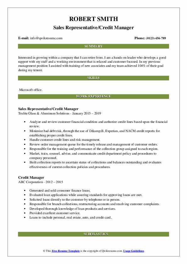 Sales Representative/Credit Manager Resume Example