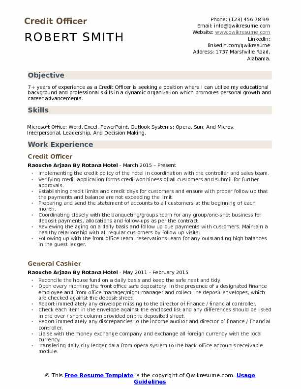 Credit Officer Resume Format