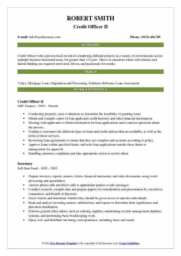 Credit Officer II Resume Example