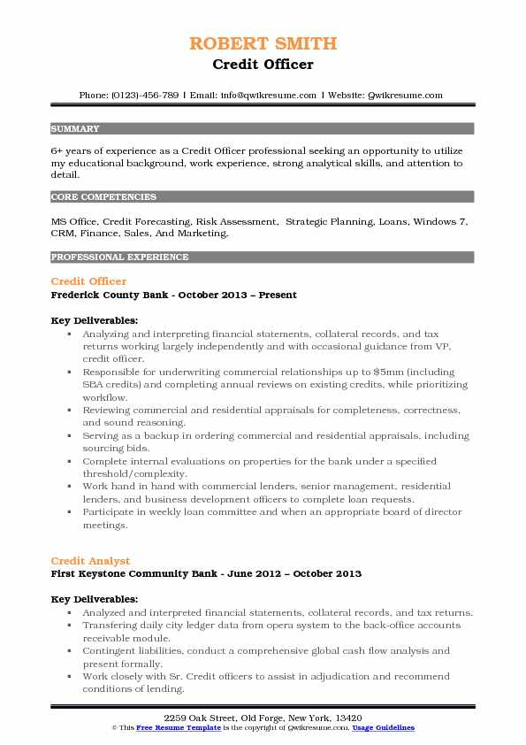 Credit Officer Resume Sample