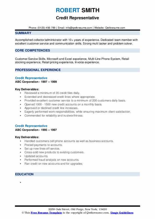 credit representative resume samples  qwikresume