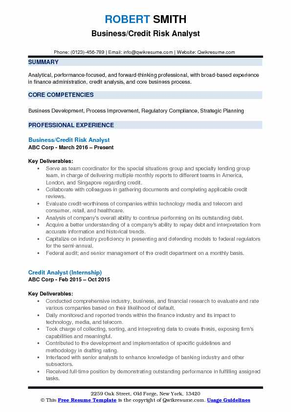 Business Credit Risk Analyst Resume Model
