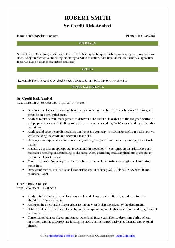 Sr. Credit Risk Analyst Resume Sample  Credit Analyst Resume Sample