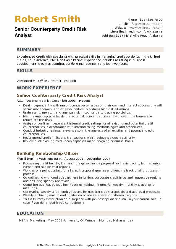 Senior Counterparty Credit Risk Analyst Resume Model