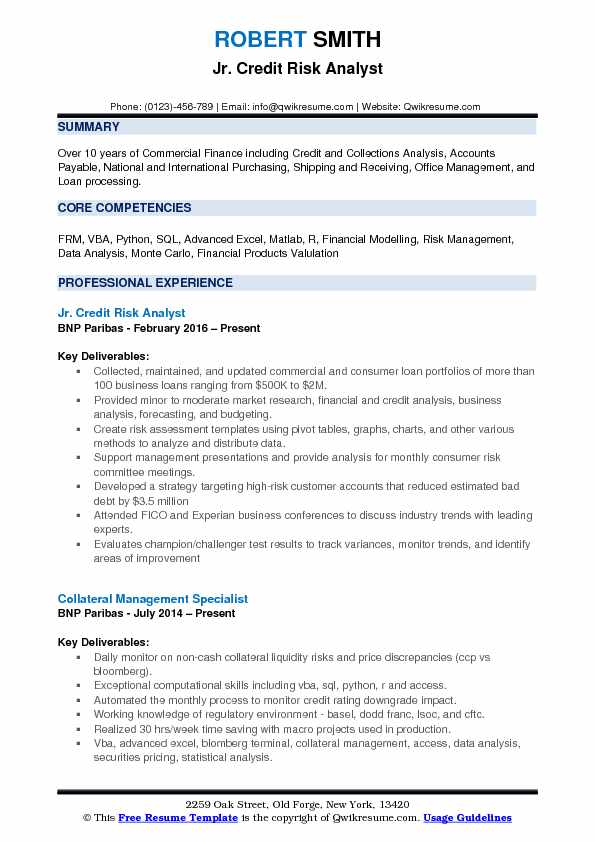 jr credit risk analyst resume template