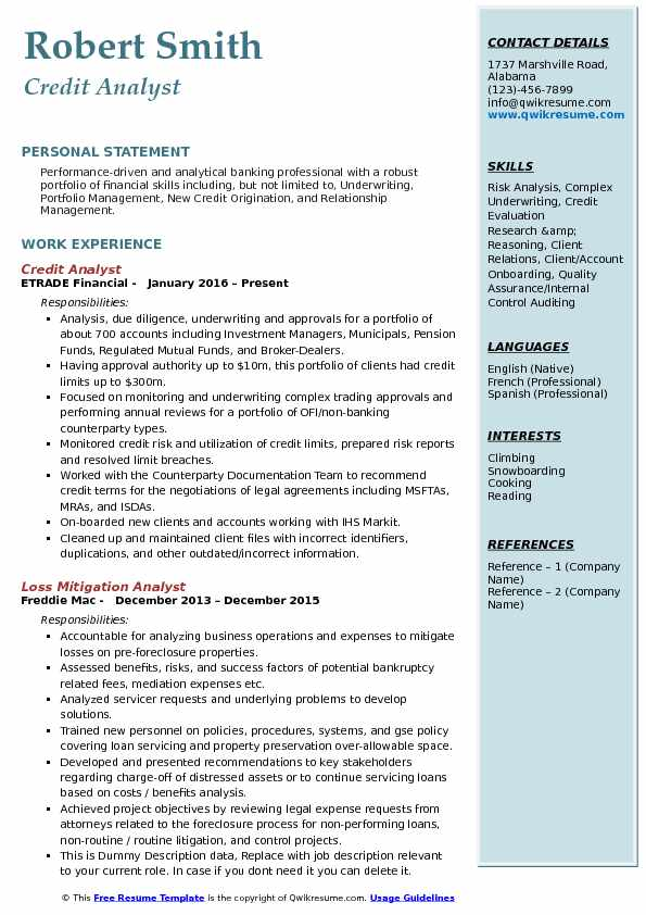 Credit Risk Analyst Resume example