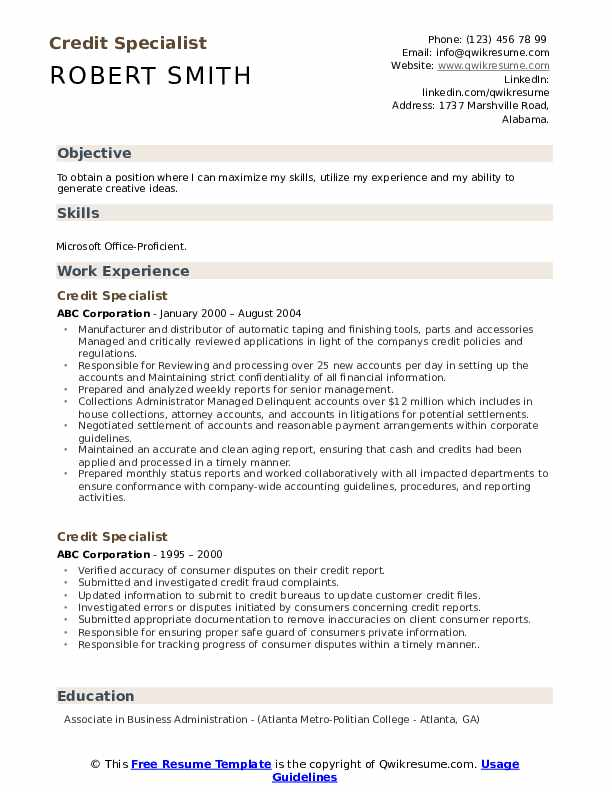 Credit Specialist Resume Sample