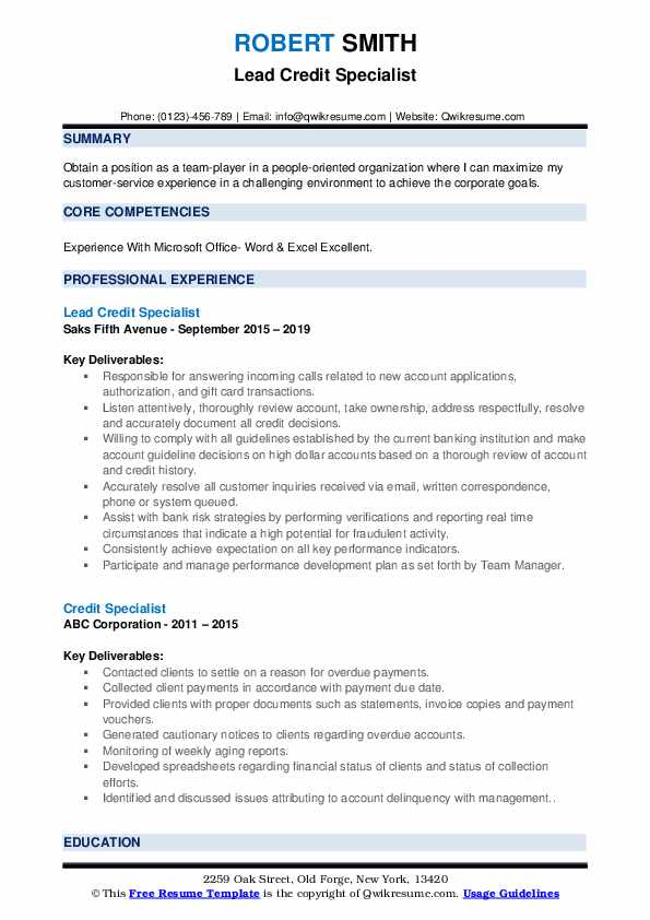 Lead Credit Specialist Resume Example