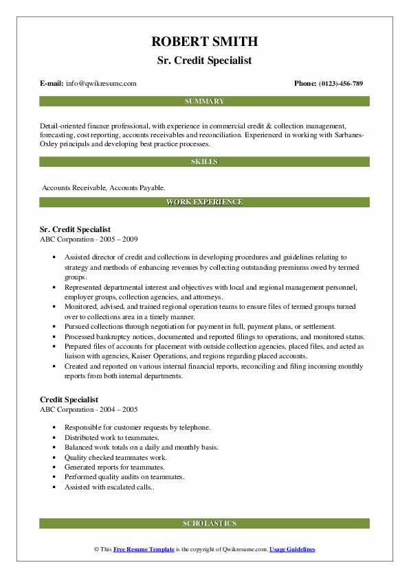 Sr. Credit Specialist Resume Example