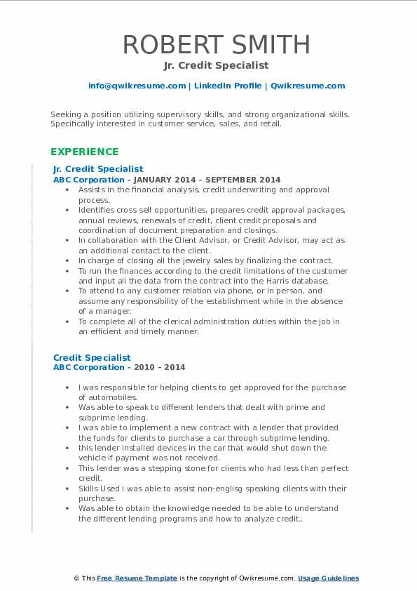 Jr. Credit Specialist Resume Example