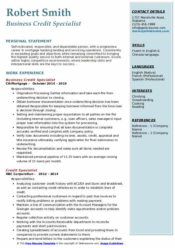 Business Credit Specialist Resume Example