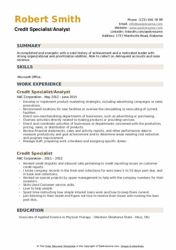 Credit Specialist/Analyst Resume Example