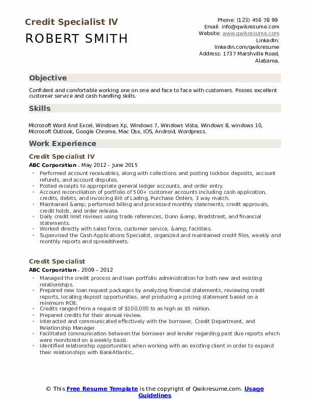 Credit Specialist IV Resume Model