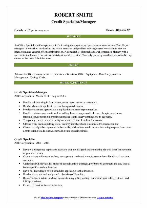 Credit Specialist/Manager Resume Template