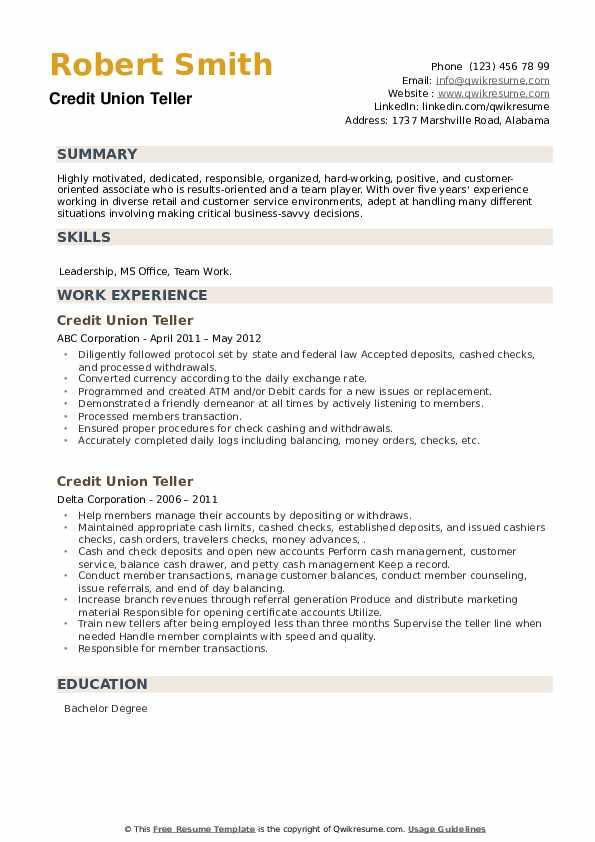 Credit Union Teller Resume example