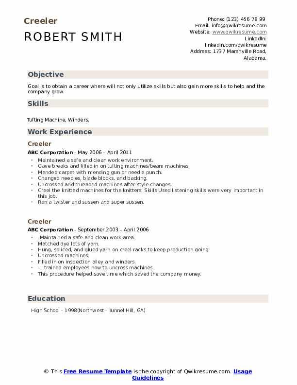 Creeler Resume example