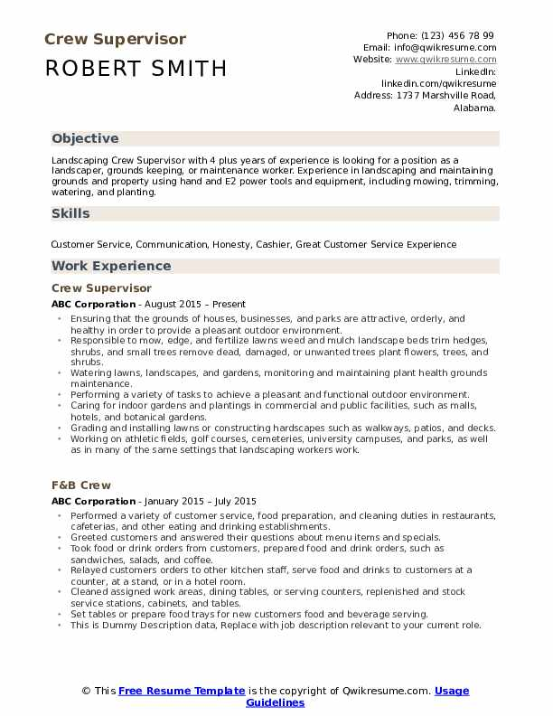 Crew Supervisor Resume Sample