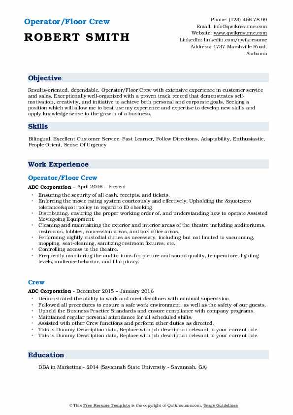 Operator/Floor Crew Resume Template