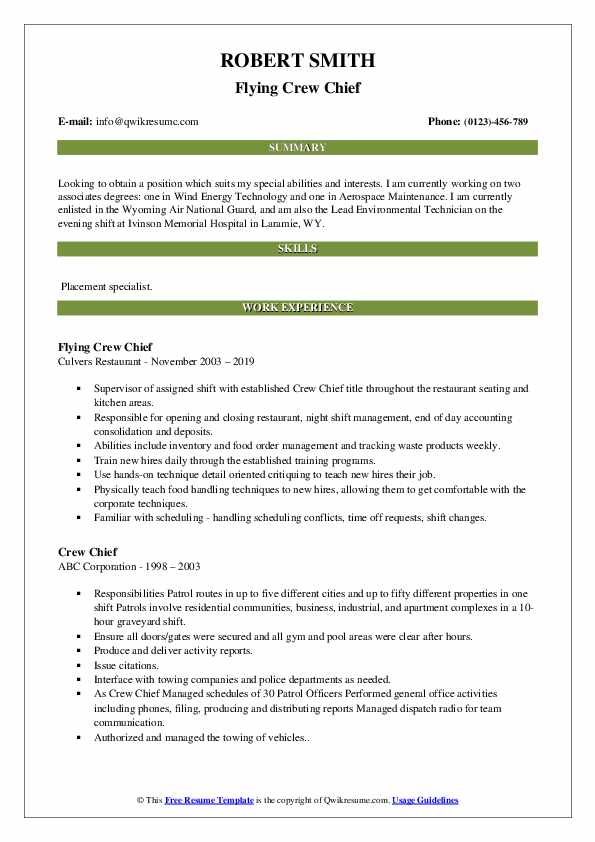Flying Crew Chief Resume Template