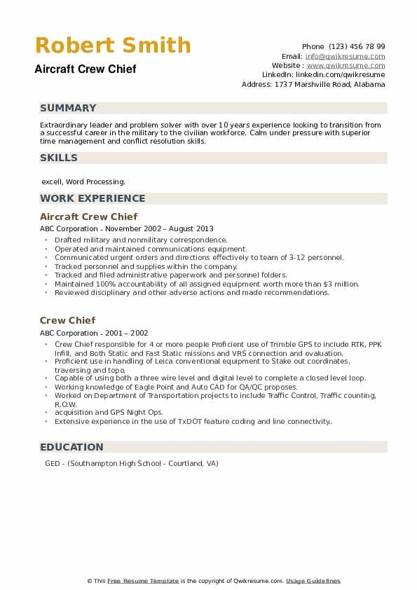 Aircraft Crew Chief Resume Format
