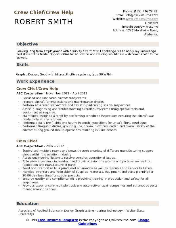 Crew Chief/Crew Help Resume Template