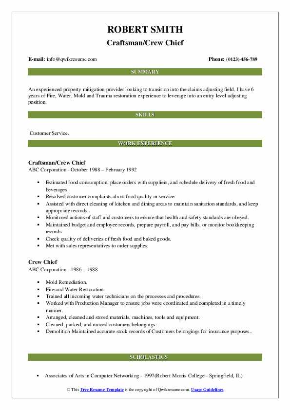 Craftsman/Crew Chief Resume Model
