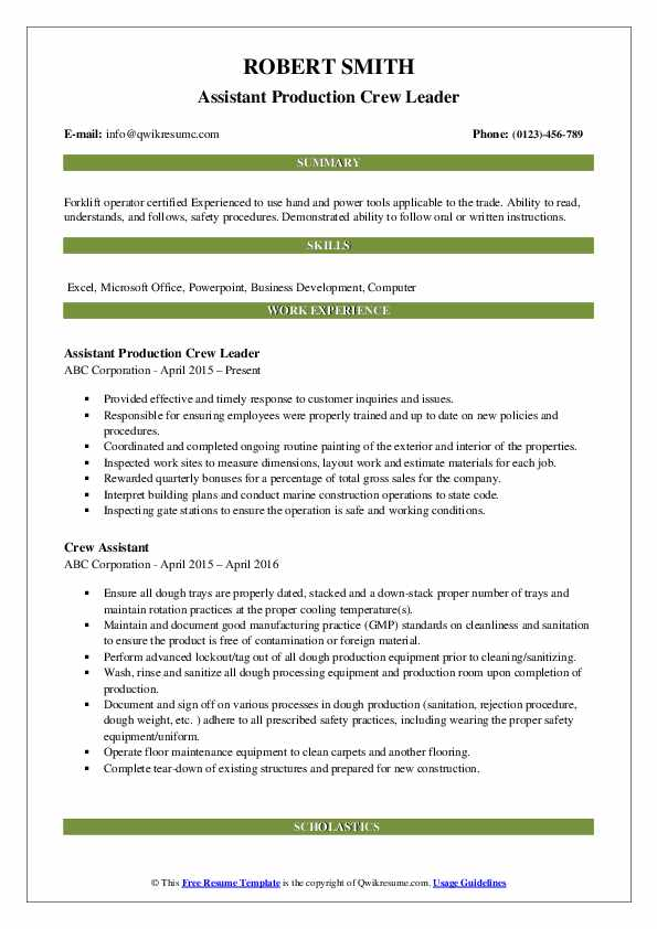 Assistant Production Crew Leader Resume Model
