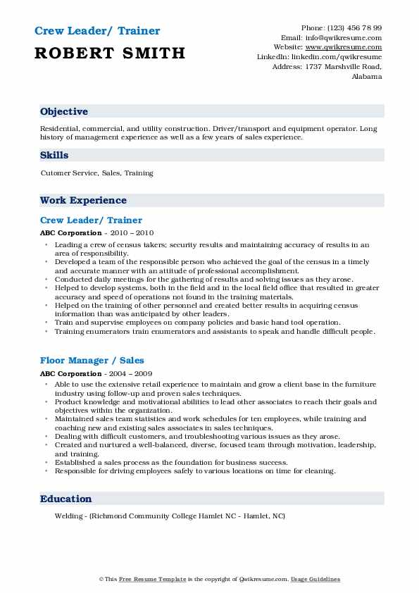 Crew Leader/ Trainer Resume Template