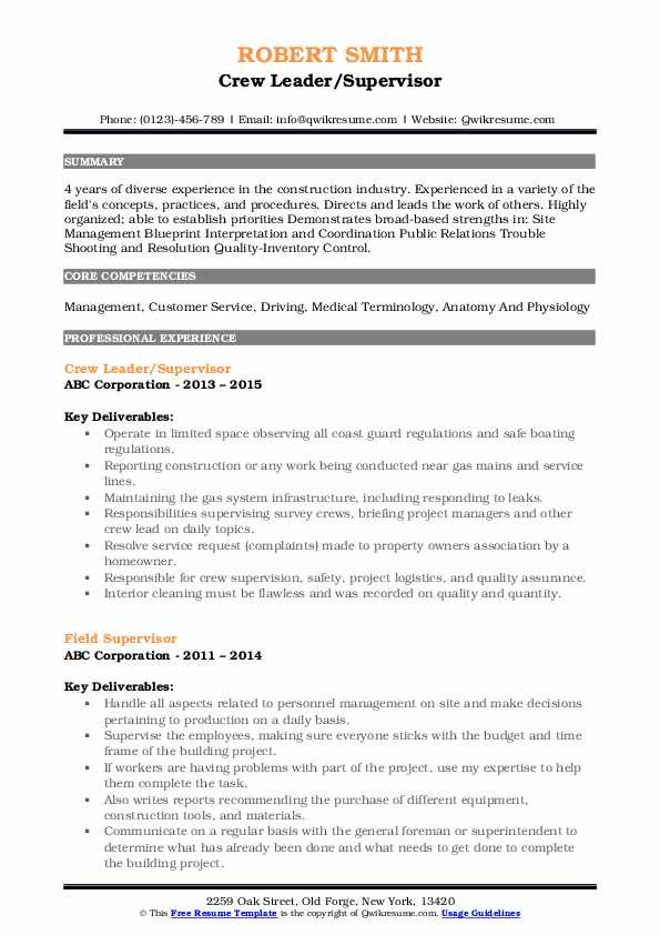 Crew Leader/Supervisor Resume Model
