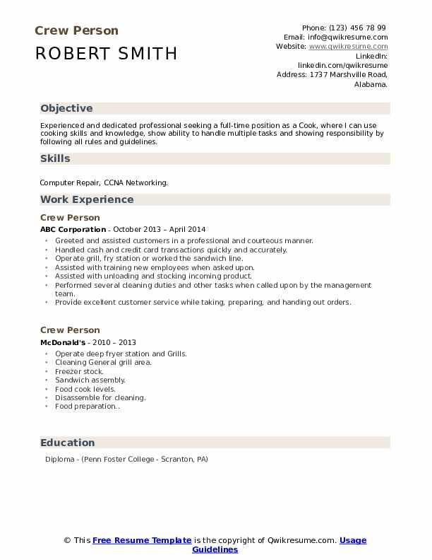Crew Person Resume example
