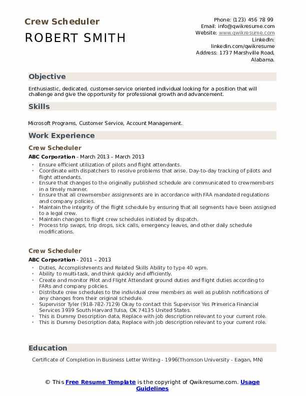 Crew Scheduler Resume example