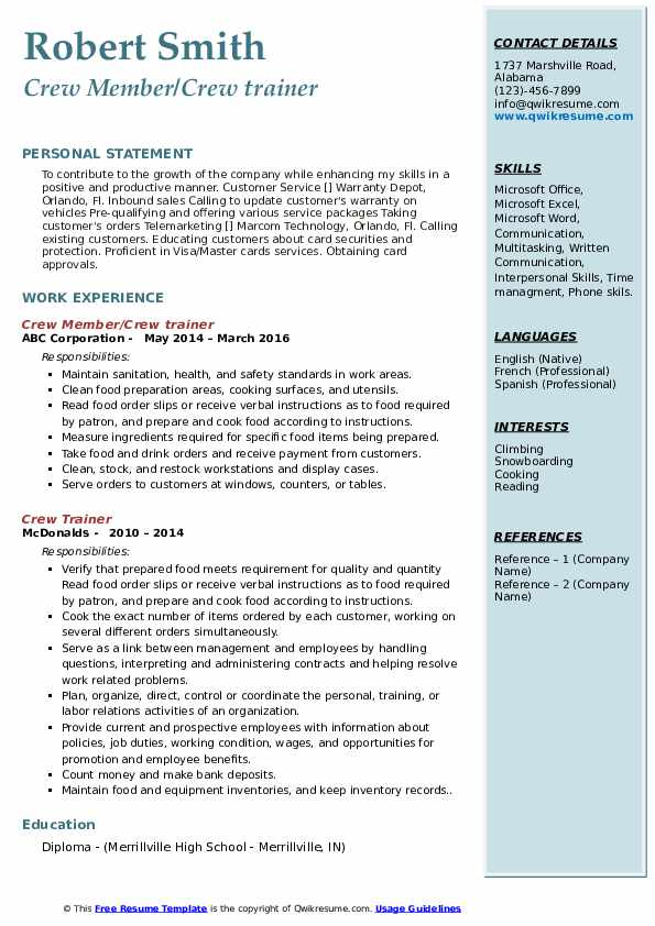 crew trainer resume samples