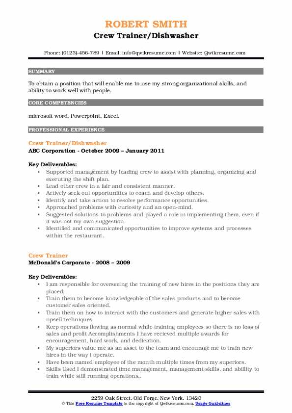 Crew Trainer/Dishwasher Resume Template