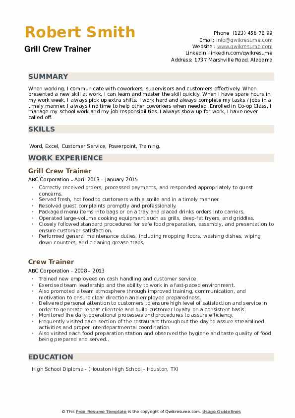 Grill Crew Trainer Resume Template