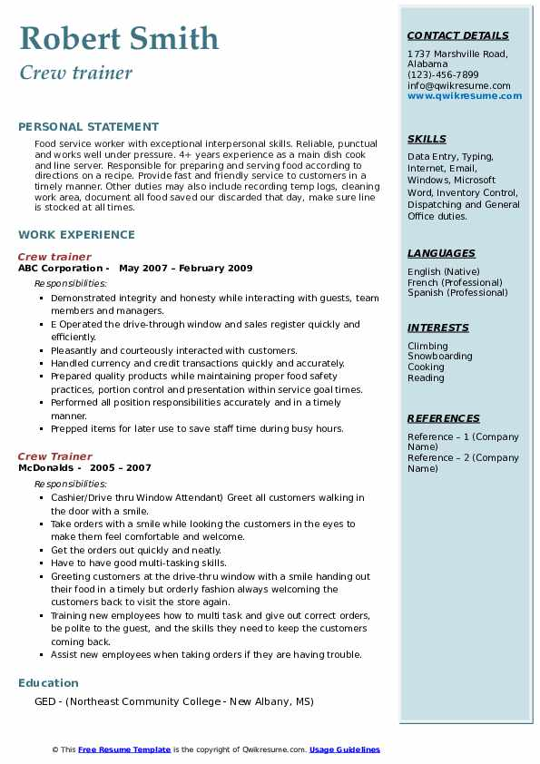 crew trainer resume samples