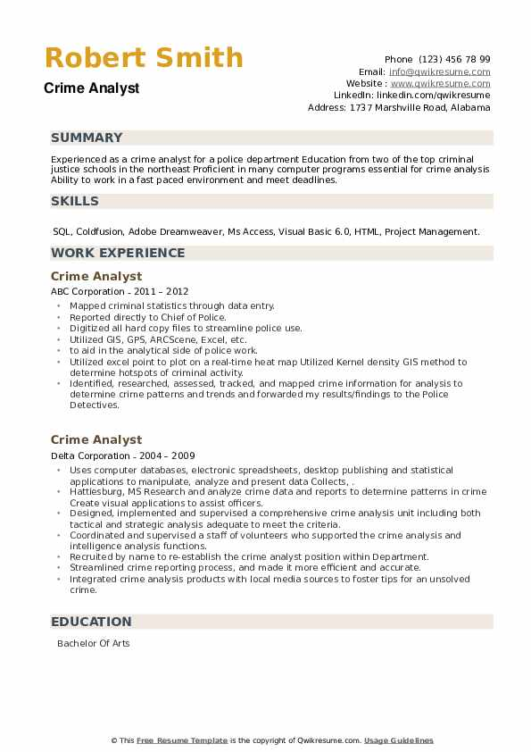 Crime Analyst Resume example
