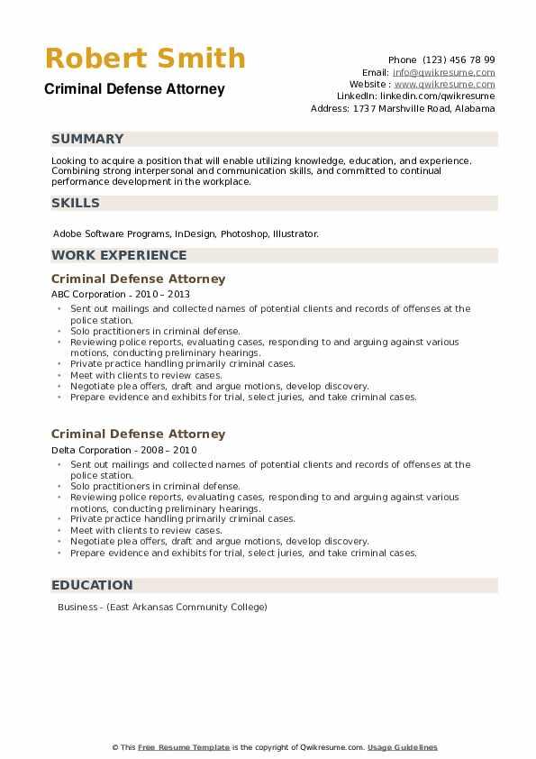 Criminal Defense Attorney Resume example
