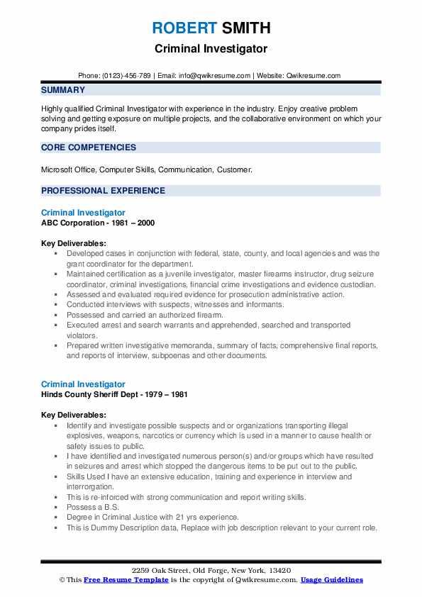 Criminal Investigator Resume example