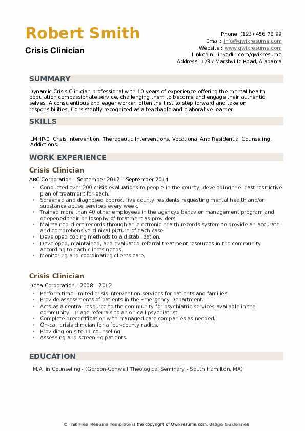 Crisis Clinician Resume example