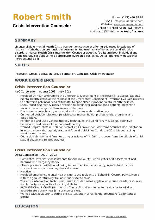 Crisis Intervention Counselor Resume example
