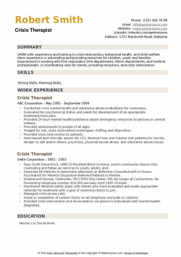Crisis Therapist Resume example