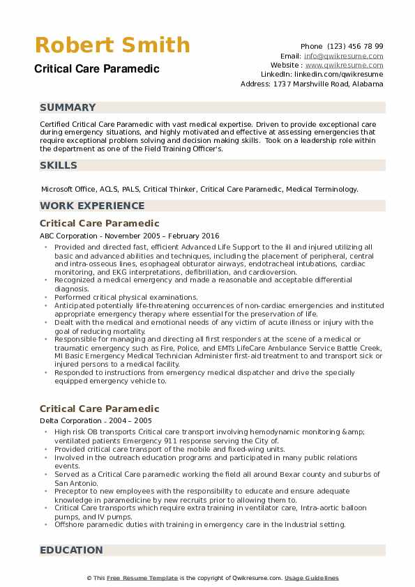 Critical Care Paramedic Resume example