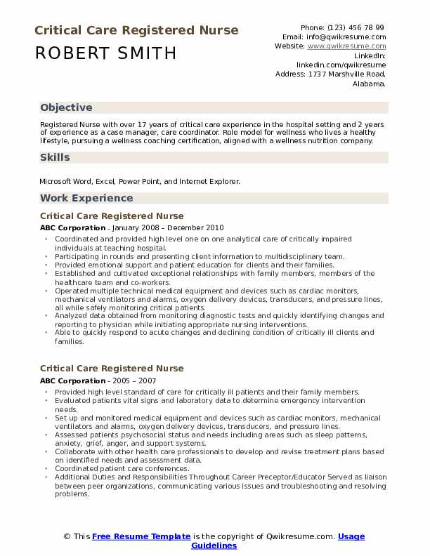 Critical Care Registered Nurse Resume Samples Qwikresume
