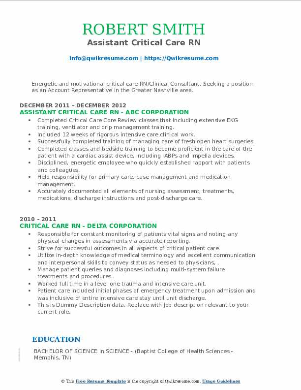 critical care rn resume samples  qwikresume