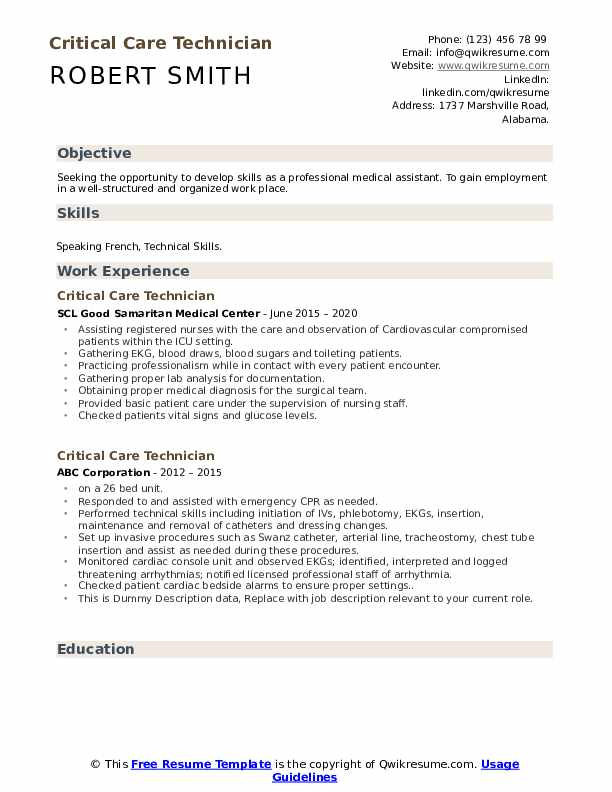 Critical Care Technician Resume example