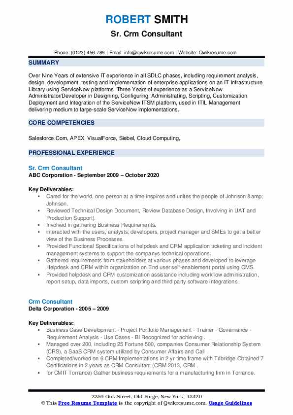 crm consultant resume samples  qwikresume