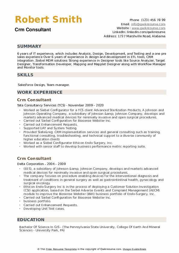 CRM Consultant Resume example