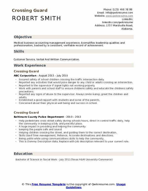 Crossing Guard Resume example