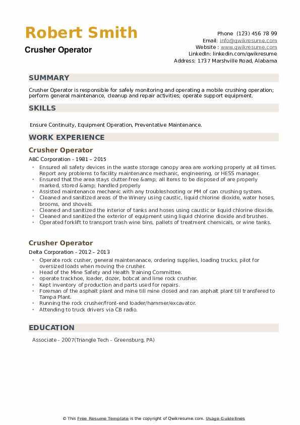 Crusher Operator Resume example